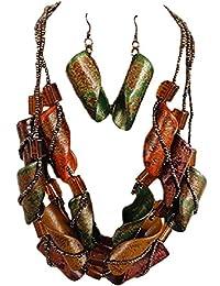 iveth 3股玻璃珠带卷发木项链套装多色 Green Yellow Brown Orange