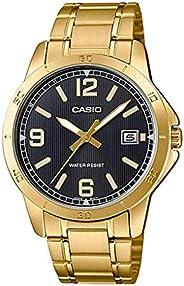 [卡西欧]CASIO 腕表 金色调 不锈钢 黑色表盘 模拟日期 MTP-V004G-1B 男款