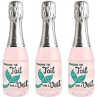 Trading The Tail For A Veil - 迷你葡萄酒和香槟瓶标签贴纸 - 美人鱼单身女郎或新娘送礼佳品 - 16 件套