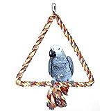 KINTOR 大三角绳摇摆鸟玩具鹦鹉笼子玩具笼子 Conure 非洲灰色 M