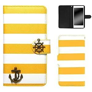 whitenuts 壳 手册式 条纹图案 海洋装饰WN-OD022474 4_ AQUOS PHONE SERIE SHL23 黄色