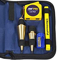 AWF-Pro Plumb Bob 套装,16 和 8 盎司实心黄铜泡泡球,可伸缩线轮和箱