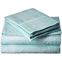 CELINE LINEN 亚麻豪华丝般柔软舒适1500纱支埃及优质四件套床单|茅草图案| 不起皱,不致敏,Queen Size,水蓝色