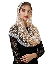 Pamor 花卉蕾丝 Infinity Chapel 头巾 覆盖拉丁围巾 Mantilla 头纱 适合质量