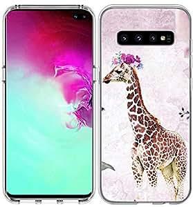 S10 Plus/IWONE 手机壳设计师橡胶耐用保护皮肤透明手机壳防震,适用于三星 Galaxy S10 Plus 圣经经经章鱼女孩基督教 可爱的长颈鹿