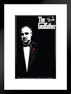 Pyramid America The Godfather Red Rose Offer Marlon Brando Corleone Mafia 电影 Matted Framed Poster 20x26 inches 306196