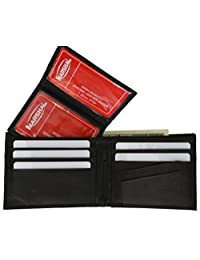 Leather Bi-fold Mens Wallet Black #533CF