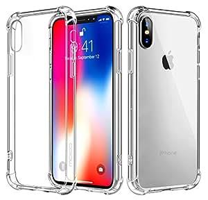 适用于 iPhone X 手机壳 iPhone 8plus 7plua 6splus 6s 和 6 手机壳,防划痕混合坚固透明面板外壳+透明加强角 TPU 缓冲垫 - 透明 透明 431