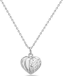 Pori Jewelers 925 纯银锤琢钻石切割心形吊坠项链 女式 - 45.72 cm 锚链