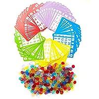 YH Bingo 游戏套装含 100 张宾戈卡片和 1000 个彩色透明宾戈筹码