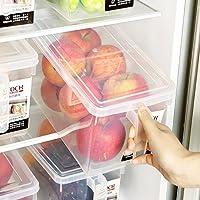 日本进口【带手柄冰箱收纳盒】带手柄收纳箱 塑料食品食物水果蔬菜保鲜盒 带盖带手柄整理盒 (三个装)