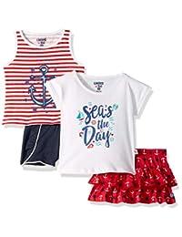 Limited Too Girls Sleeve T 恤,背心,裙子和短裤套装