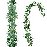 OCEANPAX 6 件人造樱花花花花环人造桉树柳藤花环 Green Willow