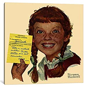 """iCanvasART Portrait of Janie Carroll Canvas Print by Norman Rockwell, 26"""" x 26""""/1.5"""" Deep"""