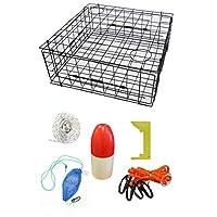 KUFA 运动乙烯基涂层 71.12 x 71.12 x 30.48 cm 螃蟹陷阱和附件套件(100' 无铅沉没线、卡钳、线束、诱饵盒和 27.94 cm 红/白漂浮)S70+CAS14