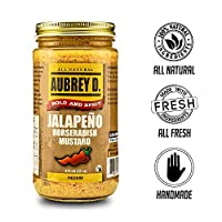 Aubrey D. Jalapeno Horseradish Mustard, Spicy Sauce for BBQ Frankfurters, Roast Beef, Salad Dressing