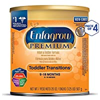 Enfagrow 美赞臣安儿宝 PREMIUM Toddler Transitions 婴幼儿过渡期配方奶粉,20盎司/567克(4件装),含Omega 3 DHA、铁