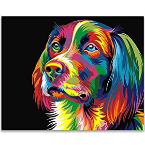 Fengtuo DIY 油画 Number Kit 油画 手绘 装饰图片 -动物设计 40.64cm X 50.80cm Color Dog Without Frame FENGTUO-125