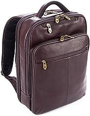 Falcon 10.1 英寸和 15.6 英寸哥伦比亚皮革背包,适用于平板电脑/笔记本电脑衬垫肩带和背板,适合商务/大学/男/女性 - 棕色 - FI6706