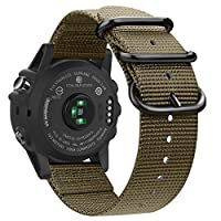 Fintie 腕带 适用于 Garmin Fenix 6X / Fenix 5X Plus / Tactix Charlie 手表,26mm 高级编织尼龙可调节替换表带 适用于 Fenix 6X 5X Plus/3/3 HR/Garmin Tactix Charlie 智能手表AOWE032US  沙漠棕褐色