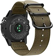Fintie 腕帶 適用于 Garmin Fenix 6X / Fenix 5X Plus / Tactix Charlie 手表,26mm 高級編織尼龍可調節替換表帶 適用于 Fenix 6X 5X Plus/3/3