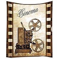 YISUMEI 挂毯家居装饰艺术壁挂嬉皮士挂毯复古电影投影机旧影院艺术品 紫色 50 x 60英寸