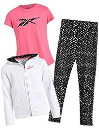 Reebok 锐步 女童运动休闲裤套装 羊毛连帽衫 T 恤和打底裤(3 件)
