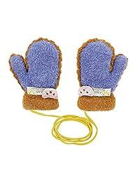 儿童婴儿可爱卡通针织手套,儿童挂脖手套,冬季保暖毛绒内衬,全手指暖手手套