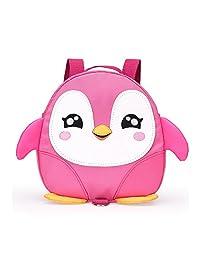 2017 新款可爱卡通企鹅迷你背包,带*尼龙胶带,适合 1-3 岁宝宝学步儿童*背包 小男孩女孩防丢失旅行包 粉红色