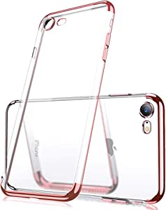 iPhone 7 Plus 手机壳和 iPhone 8 Plus 手机壳,B&C 优雅电镀超薄柔软水晶透明 TPU 手机壳,防刮保护盖。 与 iPhone 7plus/8plus iPhone 兼容 玫瑰金