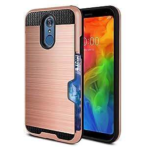 WIRESTER 手机壳兼容 LG Q7/ Q7+/ Q7 Alpha Q610 5.5 英寸双层拉绒混合保护套防震 TPU 卡钱包,适用于 LG Q7 - 黑色/黑色 Rose Gold/Black