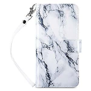 ULAK Galaxy S8 手机壳,磁性优质 PU 皮革钱包式手机壳带内置 9 个插槽和腕带,适用于三星 Galaxy S8 2017 发行版 Artistic Marble Pattern