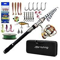 JSHANMEI 伸縮釣魚竿組合全套,旋轉釣魚裝備收納桿套件,魚鉤,魚鉤,漁具包配件海水釣魚