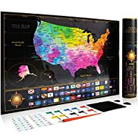 刮痕美国地图 水彩