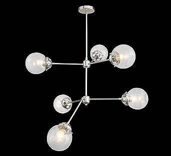 天花板灯具 Tetra 平铺安装三球形玻璃金银色 Sputnik(62.24 厘米吊坠) 镍色 34.6