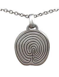 Maze Labyrinth Symbol Silver Pewter Pendant Necklace Charm Amulet  银色