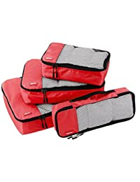 AmazonBasics Packing Cubes - Small, Medium, Large, and Slim (4-Piece Set)