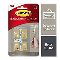 Command 17032BR-4ES 墙上挂钩,小号,黄铜