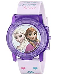 Disney 兒童 FZN6000SR 數字顯示模擬石英粉色手表