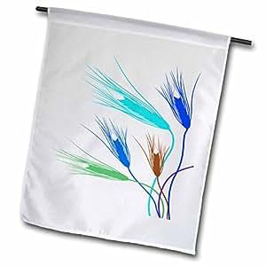ANNE marie baugh 自然–橙色,蓝绿色,棕色,和绿色小麦 stalks–旗帜 12 x 18 inch Garden Flag