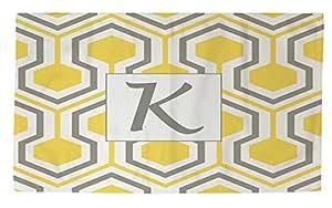 手工木工人和Weavers Dobby 沐浴地毯,2 x 3 英尺,交织字母 K,黄色蜂窝