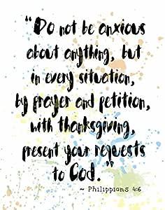 """用脚本庆祝 - 水彩喷溅圣经章节艺术印刷: Philippians 4:6 8""""×10"""""""