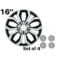 SUMEX SPA 性能轮罩,轮毂盖双色黑色/银色表面(4 件装) 16 138C