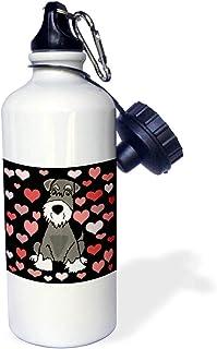 3dRose All Smiles Art - 宠物 - 趣味可爱迷你雪纳瑞犬心形图案抽象艺术 - 翻转吸管 53.34 毫升水瓶 (wb_295214_2)