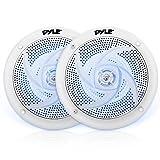 Pyle Marine 音箱 - 5.25 英寸 2 路防水防风雨户外音频立体声系统,带 LED 灯,180 瓦功率和低调*风格 - 1 对 - PLMRS53WL