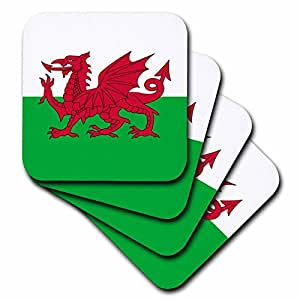 3dRose cst_158289_1 Flag of Wales Welsh Red Dragon on White and Green Y Ddraig Goch Uk United Kingdom Great Britain Soft Coasters, Set of 4