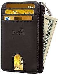 超薄钱包信用卡夹 - 皮革 RFID 屏蔽极简主义男士钱包
