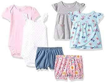Carter's 女婴 6 件套紧身衣T恤和短裤套装 薄荷蝴蝶/灰色花卉 Newborn