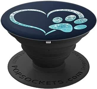 冰浅蓝色狗爪印爱心深*蓝 PopSockets 手机和平板电脑260027  黑色