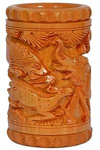 Craft Trade 棕色手工大象和Loin 设计木笔架 棕色 2.54 厘米 标准 CT573